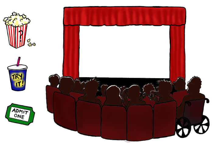 Cartoon Movie Screen Theatre screen shown here.